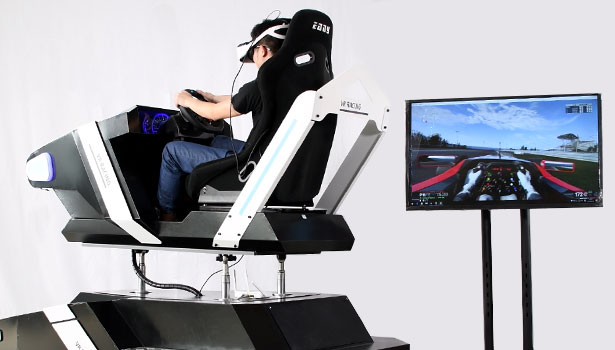 vr car driving simulator with tv