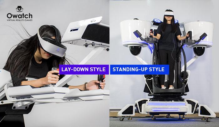 VR flight- Lay-down style VS estilo de pie
